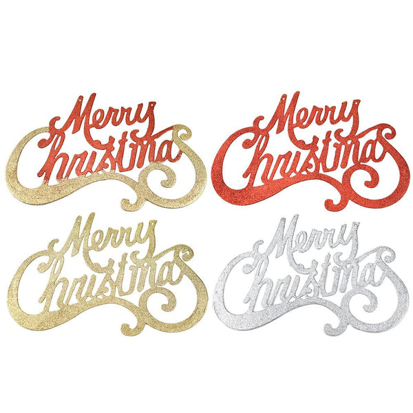 Glittered 'Merry Christmas' Hanging Signs, 17-1/2-Inch, 4-Piece
