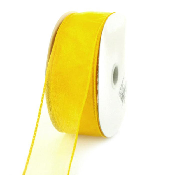 12-Pack, Sheer Chiffon Ribbon Wired Edge, 1-1/2-inch, 25-yard, Sunflower