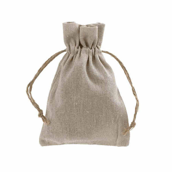 Natural Linen Favor Bags with Jute Drawstring, 4-Inch x 6-Inch, 12-Piece