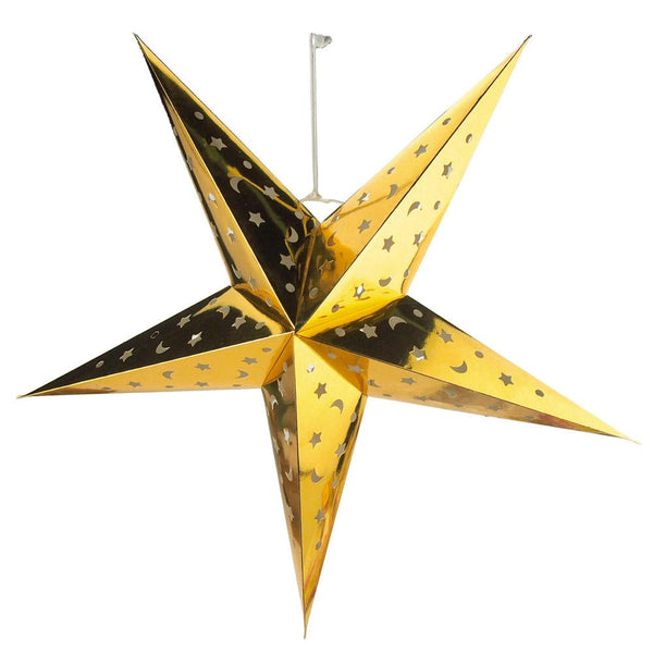 Paper Metallic Star Hanging Christmas Decor, Gold, 14-Inch