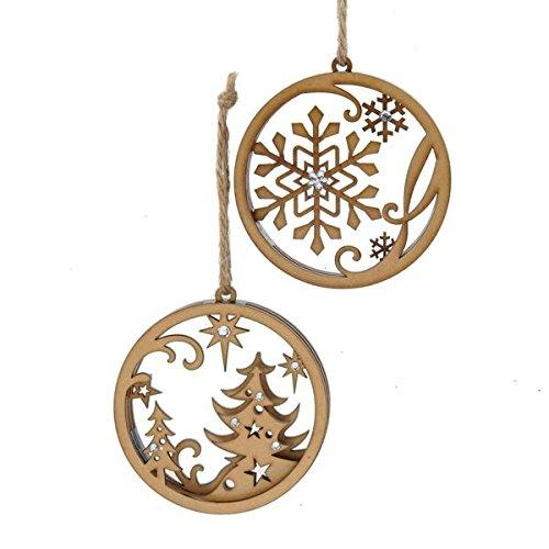 Snowflake Laser Cut Wood Ornaments, 2-Piece