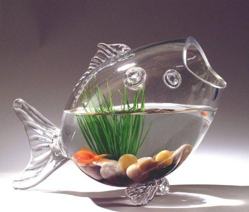 Fish Shaped Fish Bowl Glass Vase, 13-3/4-Inch, Medium