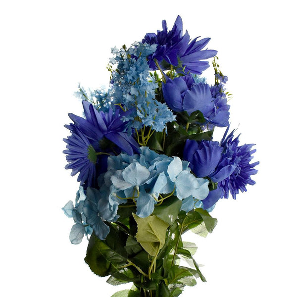 Artificial Satin Peony and Hydrangea Bouquet, Blue Combination, 31-Inch