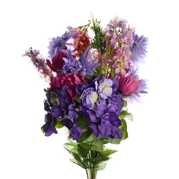 Artificial Satin Peony and Hydrangea Bouquet, Purple/Beauty, 31-Inch