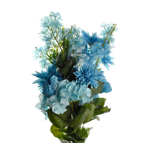 Artificial Satin Peony and Hydrangea Bouquet, Turquoise, 31-Inch