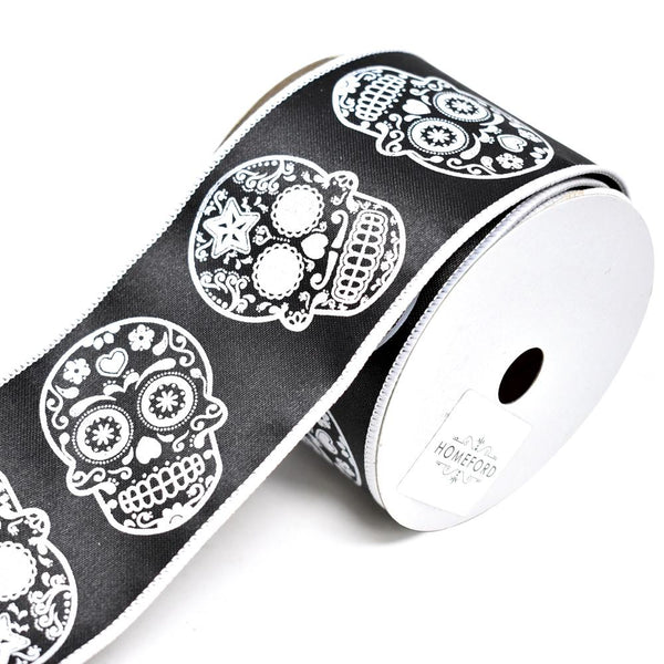 12 Pack, Day of the Dead Sugar Skull Wired Ribbon, Black, 2-1/2-Inch