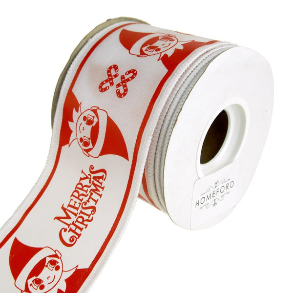 """Merry Christmas"" Elf Wire-Edge Ribbon, White/Red, 2-1/2-Inch, 10 Yards"