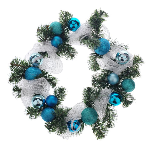 12 Pack, Decorated Styrofoam Christmas Wreath, Turquoise, 21-Inch