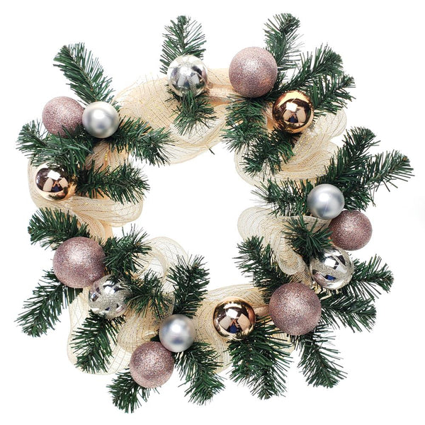 12 Pack, Decorated Mesh Ribbon & Rose Gold Spheres Christmas Wreath, Green/Gold, 21-Inch