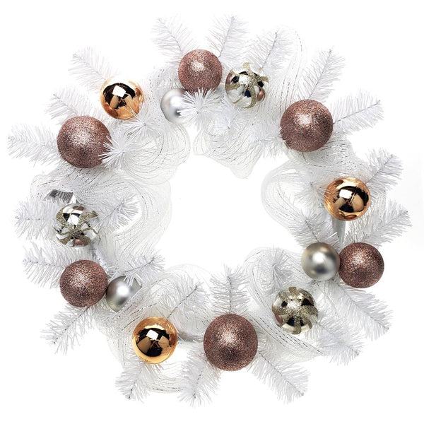 12 Pack, Decorated Mesh Ribbon & Rose Gold Spheres Christmas Wreath, White/Silver, 21-Inch