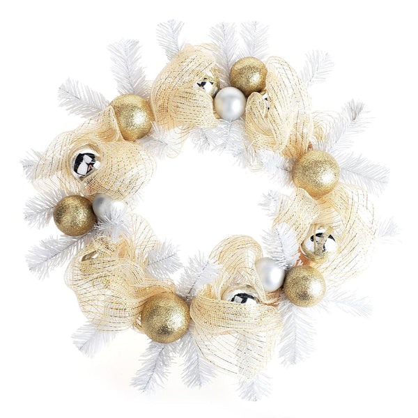 12 Pack, Decorated Gold Mesh Ribbon Christmas Wreath, White/Gold, 21-Inch