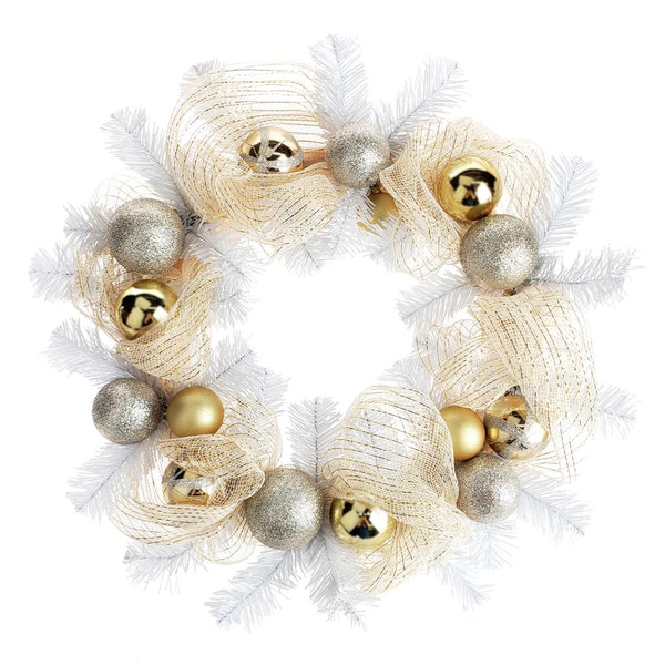 12 Pack, Decorated Gold Mesh Ribbon Christmas Wreath, White/Champagne, 21-Inch