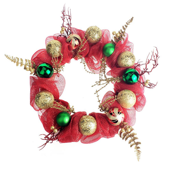 12-Pack, Decorated Mesh Ribbon Glitter Twigs Christmas Wreath, Red/Green, 21-Inch