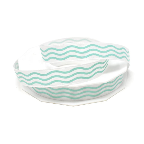 12-Pack, Aqua Waves Coastal Grosgrain Ribbon, White, 5/8-Inch, 20-Yard