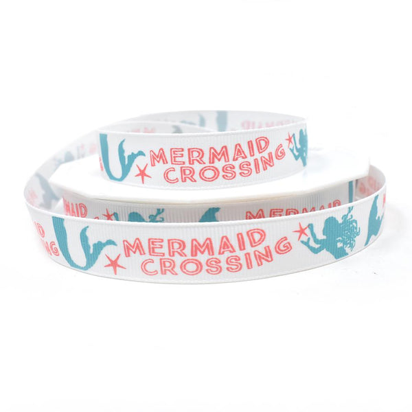 Mermaid Crossing Coastal Grosgrain Ribbon, White, 5/8-Inch, 20-Yard