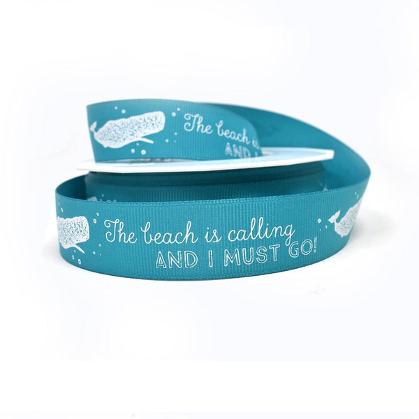 12-Pack, The Beach Is Calling Coastal Grosgrain Ribbon, Teal,. 7/8-Inch, 20-Yard