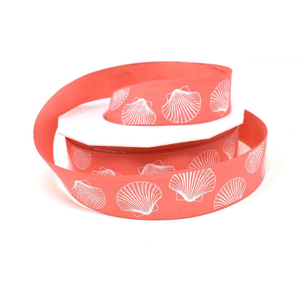 12-Pack, White Seashell Coastal Grosgrain Ribbon, Coral, 7/8-Inch, 20-Yard