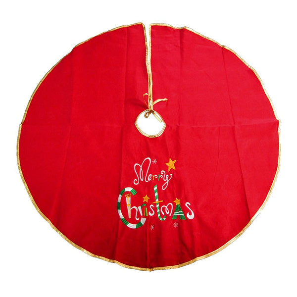 Embroidered Felt Christmas Tree Skirt, Red, 42-Inch