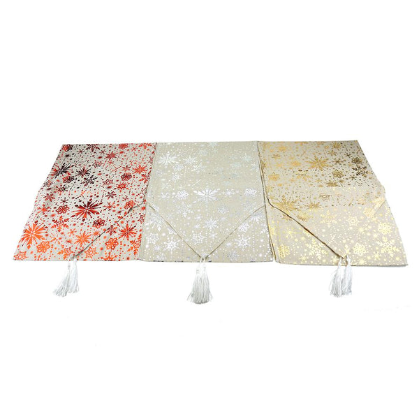 12-Pack, Christmas Snowflake Table Runners with Tassel, Natural, 70-Inch, 3-Piece
