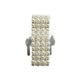 Corsage Wristlet with Pearl and Rhinestone Band, 1-1/8-Inch