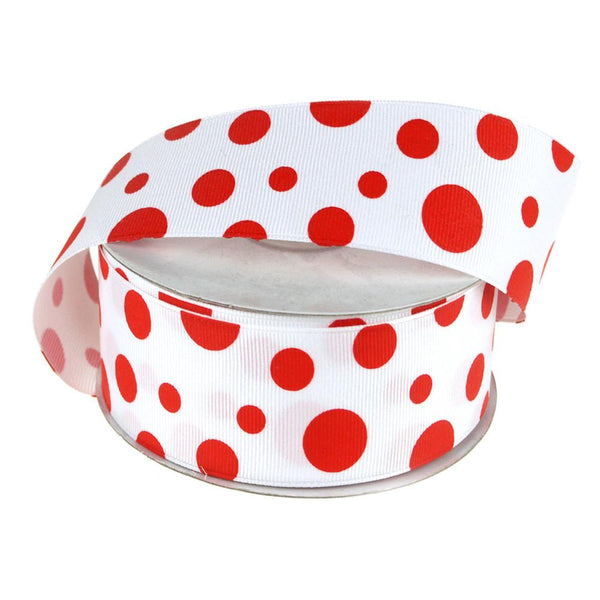 White Grosgrain Polka Dot Ribbon, 1-1/2-Inch, 25 Yards, Red