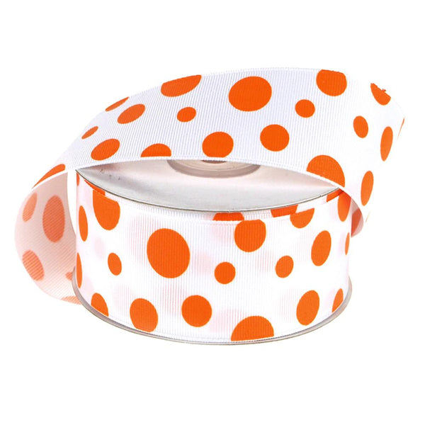White Grosgrain Polka Dot Ribbon, 1-1/2-Inch, 25 Yards, Orange