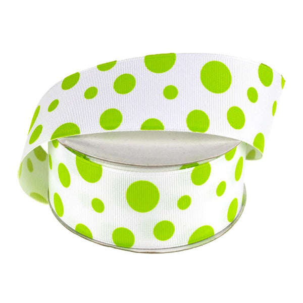 White Grosgrain Polka Dot Ribbon, 1-1/2-Inch, 25 Yards, Apple Green