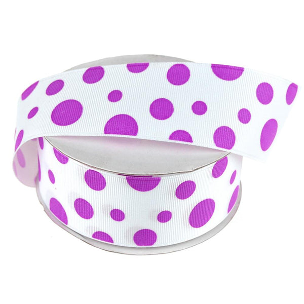 White Grosgrain Polka Dot Ribbon, 1-1/2-Inch, 25 Yards, Purple