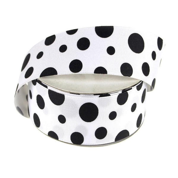 White Grosgrain Polka Dot Ribbon, 1-1/2-Inch, 25 Yards, Black