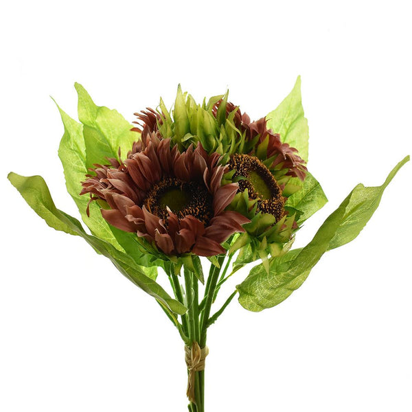 Artificial Sunflower Bouquet, Mauve, 15-Inch