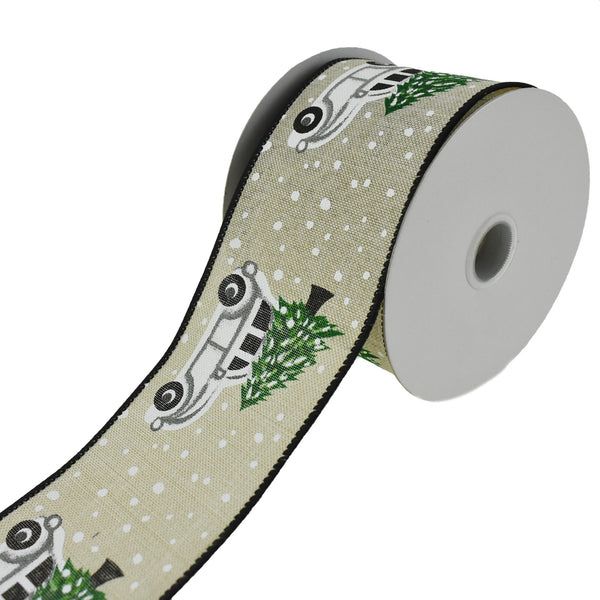 Beetle Car and Christmas Tree Wired Ribbon, 2-1/2-Inch, 10-Yard