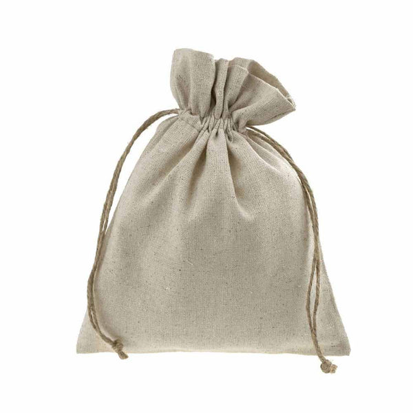 Natural Linen Favor Bags with Jute Drawstring, 5-Inch x 7-Inch, 12-Piece