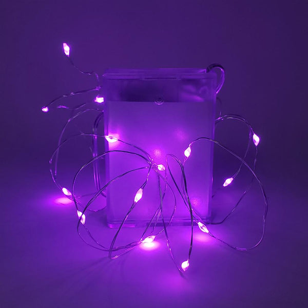 12 Pack, Copper Wire Battery Operated Fairy String Lights, 7-Feet, 20 LED, Purple