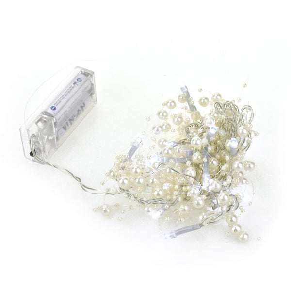 Battery Operated Beaded String Lights, 20 LED, White