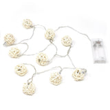 Battery Operated Rattan Wicker Ball String Lights, 40-Inch