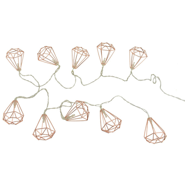 12-Pack, 10 LED 3D Diamond Outline Warm White String Lights, Rose Gold, 2-Inch, 5-1/2-Feet