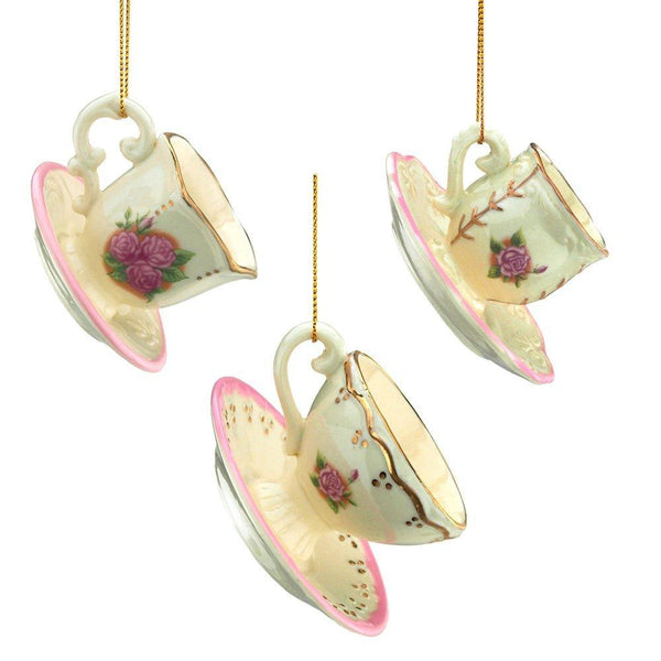 Porcelain Romance Tea Cup Christmas Tree Ornaments, 1-3/4-Inch, 3-Piece