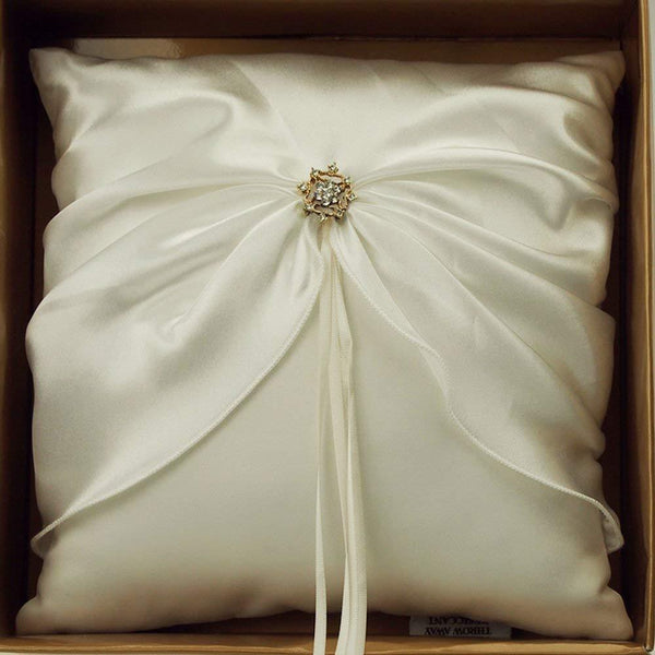 Ring Bearer Satin Pillows Wedding Occassion, 8-inch, Satin Bow, Ivory, CLOSEOUT