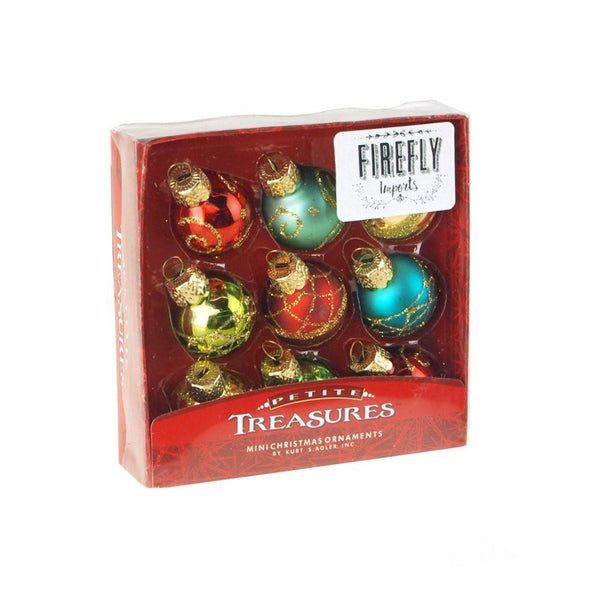 12-Pack, Set of 9 Multi Miniature Glass Ornament Balls, 1-Inch