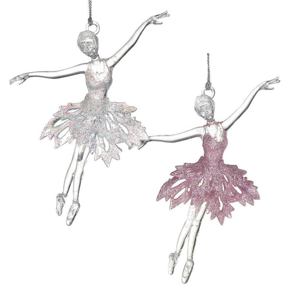 12-Pack, Acrylic Ballerina Dancer Christmas Tree Ornaments, Pink/White, 6-Inch, 2-Piece