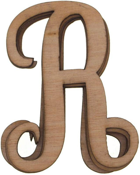 Wooden Cursive Letter R, Natural, 3-Inch, 6-Piece