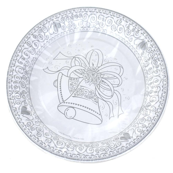 12-Pack, Paper Wedding Bell Printed Plates, White, 9-Inch, 6-Count