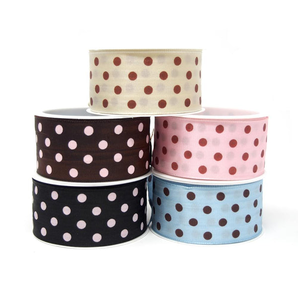 12-Pack, Taffeta Polka Dot Wired Edge Ribbon, Made in Germany, 1-1/2-Inch, 3-Yard