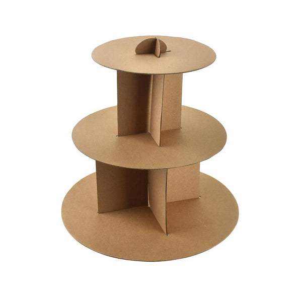 12-Pack, 3 Tiered Cardboard Cupcake Stand, Natural, 12-Inch