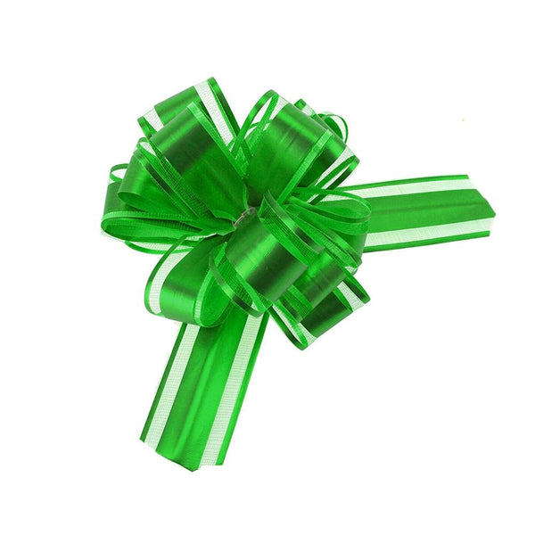 Snow Pull Bow Ribbon, 14 Loops, 1-1/4-Inch, 2-Count, Emerald Green