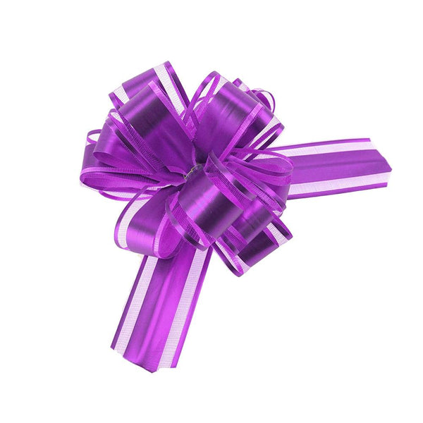 Snow Pull Bow Ribbon, 14 Loops, 1-1/4-Inch, 2-Count, Purple