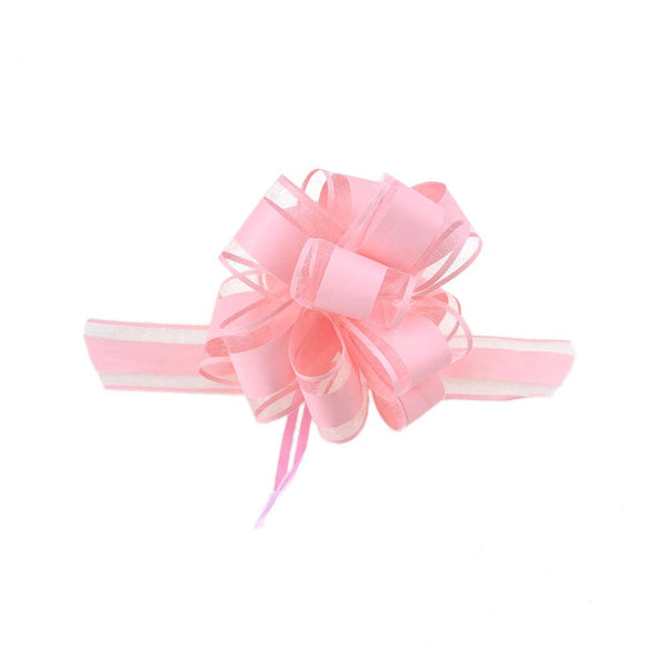 Snow Pull Bow Ribbon, Pink, 14 Loops, 2-Inch, 2-Count
