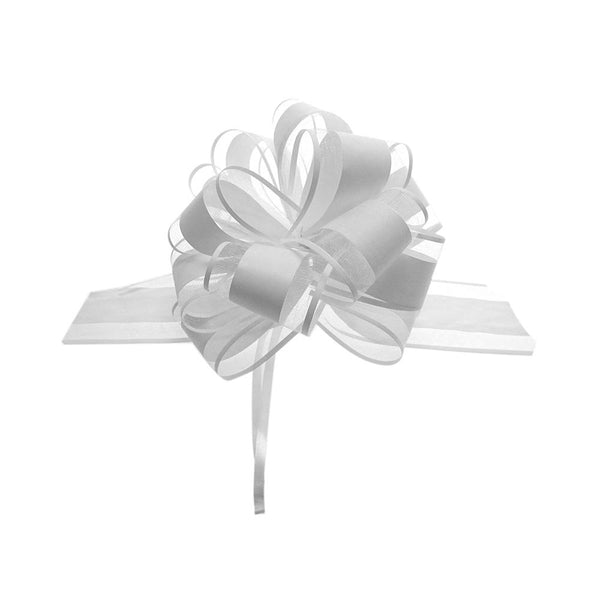 Snow Pull Bow Ribbon, White, 14 Loops, 2-Inch, 2-Count