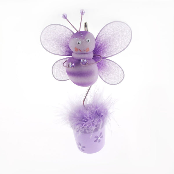 12-Pack, Bee Flower Pot Place Card Holder, 6-Inch, Lavender - CLOSEOUT