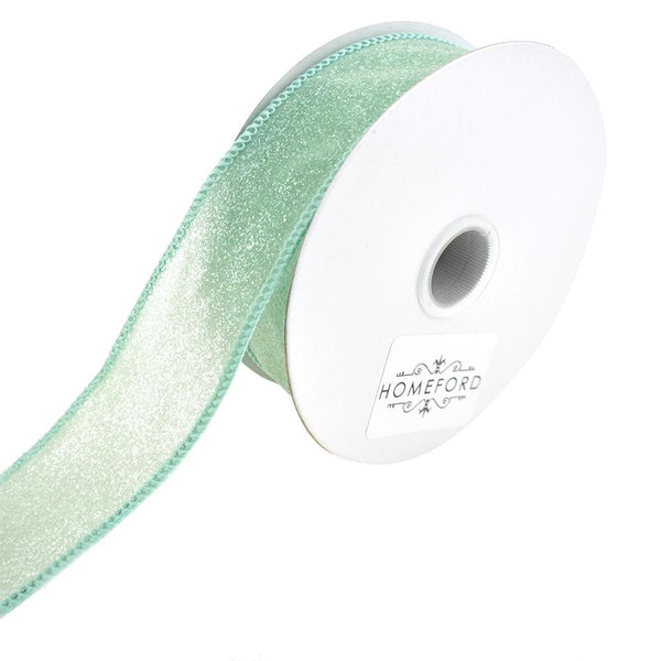 Crystal Rocks Wired Edge Glitter Ribbon, 1-1/2-Inch, 10-Yard, Aqua